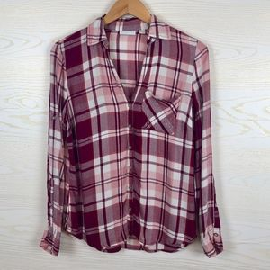 New York & Company Pink Plaid Flannel Button Down
